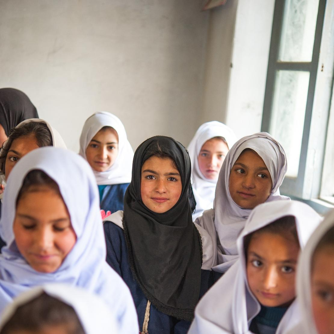 Girls learning in the classroom in Pakistan