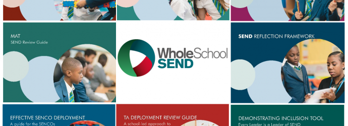 Image shows a range of front covers from the Whole School SEND Review Guide suite
