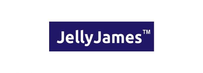 Jelly James logo - white text on blue background