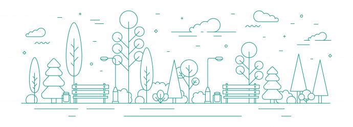 Image shows an vector image of a park, with trees, clouds and benches, all drawn in teal green