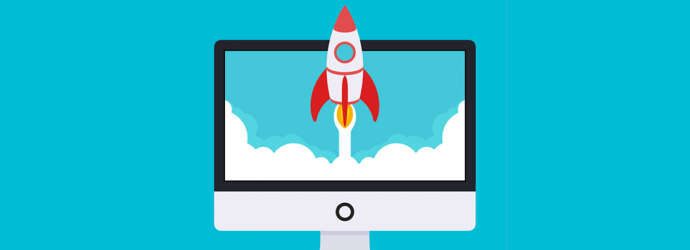 A rcartoon rocket which has red wings and a white body is launching out of a computer monitor