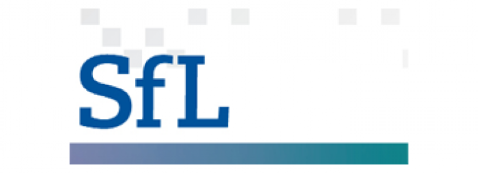 "Letters ""SFL"" spelt out in blue with a dark to light blue gradient underline"