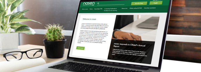 Laptop on a desk displaying the nasen home page