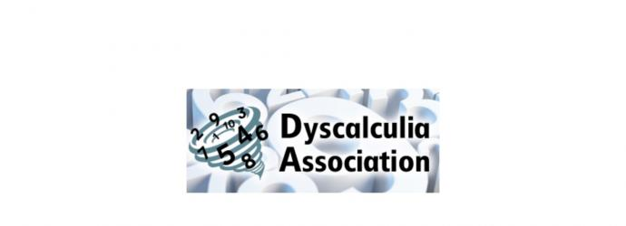 Image shows Dyscalculia Association logo, which features a tornado full of numbers, on a background of large numeric figures