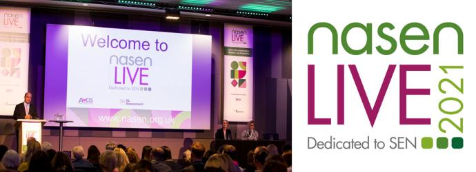 nasen Live 2021 event banner - image of main stage at conference with nasen Live 2021 logo
