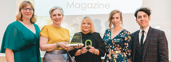 photograph of 5 people holding nasen awards taken at the nasen awards 2019 ceremony