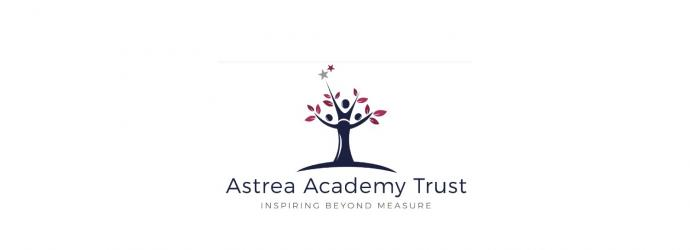 """Astrea Academy Trust logo - image is three people standing together to make the shape of a tree, their arms are the branches reaching up to the stars. Tagline is """"inspiring beyond measure"""""""