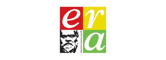 'era' logo (which is three coloured squares and a fourth square of a black and white man) on a white background