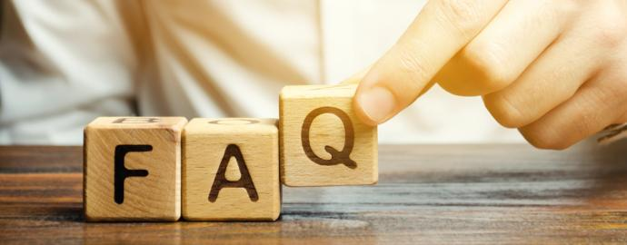 Letter blocks spelling out FAQ
