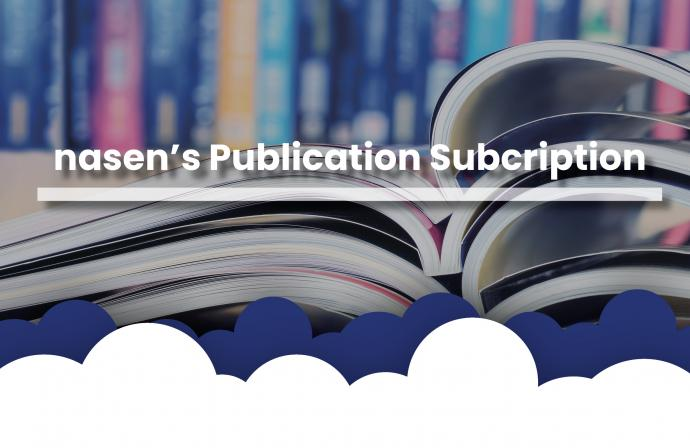 "Picture of an open book with ""nasen Publication Subscription"" written over it"