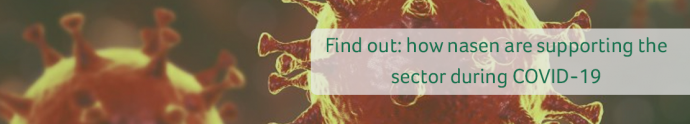 how nasen are supporting the sector during covid 19 written on the top of an image of a virus