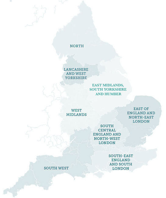 Image shows a map of England broken down in WSS Regions