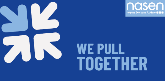 "Blue banner with ""we pull together"" written on it in a lighter blue. In the top left there are 4 arrows pointing to the middle and on the top right is a nasen logo"