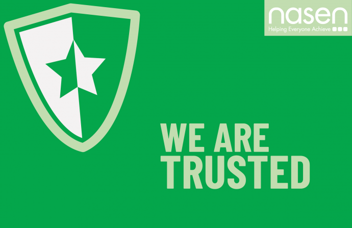 """We are trusted"" values poster in green with a security badge on the top left which has a star in the middle of it and the nasen logo on the top right"