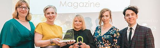 photograph of 5 people holding nasen awards taken at the nasen awards 2019 ceremony